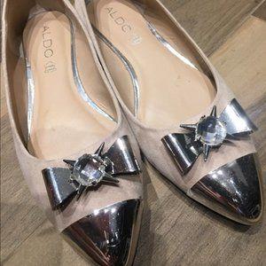Aldo Blush Metal Tipped Bow Ballet Flat Shoes